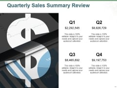 Quarterly Sales Summary Review Ppt PowerPoint Presentation Portfolio Slides