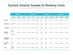 Quarterly Schedule Template For Marketing Events Ppt PowerPoint Presentation Show Shapes