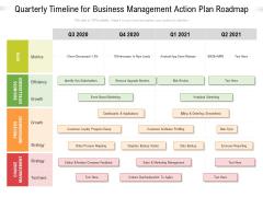 Quarterly Timeline For Business Management Action Plan Roadmap Information