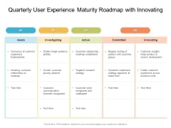 Quarterly User Experience Maturity Roadmap With Innovating Elements