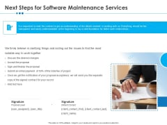 RFP Software Maintenance Support Next Steps For Software Maintenance Services Pictures PDF
