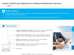 RFP Software Maintenance Support Project Context And Objectives For Software Maintenance Services Portrait PDF