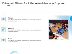 RFP Software Maintenance Support Vision And Mission For Software Maintenance Proposal Icons PDF