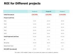 ROI For Different Projects Ppt PowerPoint Presentation Ideas Gallery