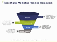 Race Digital Marketing Planning Framework Ppt PowerPoint Presentation Icon Format Ideas