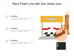 Race Finish Line With Gun Vector Icon Ppt PowerPoint Presentation Gallery Guidelines PDF