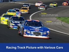 Racing Track Picture With Various Cars Ppt PowerPoint Presentation Icon Graphic Images PDF
