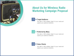 Radio Marketing Plan Product Launch About Us For Wireless Radio Marketing Campaign Proposal Background PDF