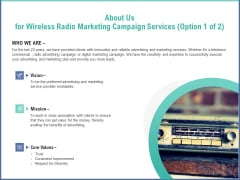 Radio Marketing Plan Product Launch About Us For Wireless Radio Marketing Campaign Services Clipart PDF