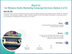 Radio Marketing Plan Product Launch About Us For Wireless Radio Marketing Campaign Services Vision Clipart PDF