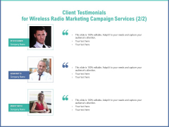Radio Marketing Plan Product Launch Client Testimonials For Wireless Radio Marketing Campaign Services Audience Introduction PDF