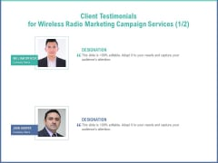 Radio Marketing Plan Product Launch Client Testimonials For Wireless Radio Marketing Campaign Services Pictures PDF