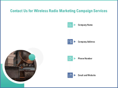Radio Marketing Plan Product Launch Contact Us For Wireless Radio Marketing Campaign Services Icons PDF