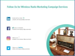 Radio Marketing Plan Product Launch Follow Us For Wireless Radio Marketing Campaign Services Guidelines PDF