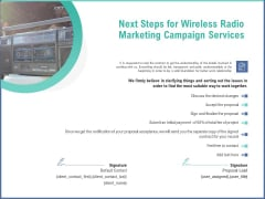 Radio Marketing Plan Product Launch Next Steps For Wireless Radio Marketing Campaign Services Designs PDF