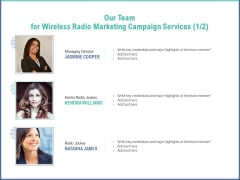 Radio Marketing Plan Product Launch Our Team For Wireless Radio Marketing Campaign Services Infographics PDF