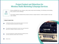 Radio Marketing Plan Product Launch Project Context And Objectives For Wireless Radio Marketing Campaign Services Topics PDF