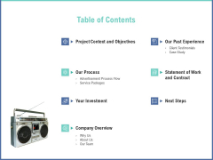 Radio Marketing Plan Product Launch Table Of Contents Information PDF