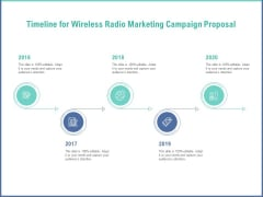 Radio Marketing Plan Product Launch Timeline For Wireless Radio Marketing Campaign Proposal Slides PDF