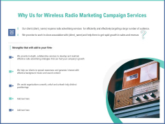 Radio Marketing Plan Product Launch Why Us For Wireless Radio Marketing Campaign Services Diagrams PDF