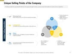 Raise Funding From Pre Seed Money Unique Selling Points Of The Company Infographics PDF