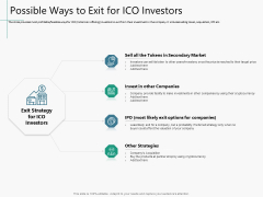 Raising Capital From Virtual Currency Initial Public Offering Possible Ways To Exit For ICO Investors Mockup PDF