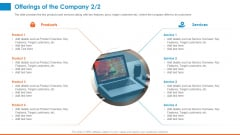 Raising Company Capital From Public Funding Sources Offerings Of The Company Products Icons PDF