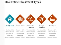 Real Estate Investment Types Ppt PowerPoint Presentation Deck