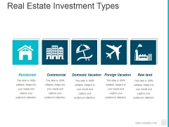 Real Estate Investment Types Ppt PowerPoint Presentation Slides Ideas