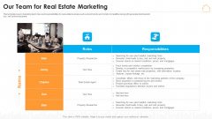 Real Estate Marketing Strategy Vendors Our Team For Real Estate Marketing Guidelines PDF