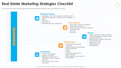 Real Estate Marketing Strategy Vendors Real Estate Marketing Strategies Checklist Portrait PDF