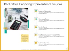 Real Estate Property Management System Real Estate Financing Conventional Sources Ppt Ideas Deck PDF