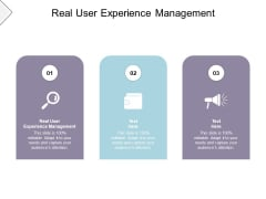 Real User Experience Management Ppt PowerPoint Presentation Layouts Layout Ideas Cpb Pdf