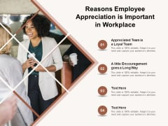 Reasons Employee Appreciation Is Important In Workplace Ppt PowerPoint Presentation File Outline PDF