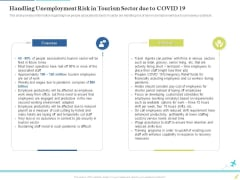 Rebuilding Travel Industry After COVID 19 Handling Unemployment Risk In Tourism Sector Due To COVID 19 Template PDF