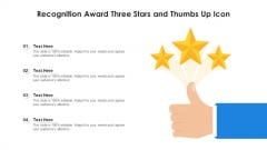 Recognition Award Three Stars And Thumbs Up Icon Professional PDF