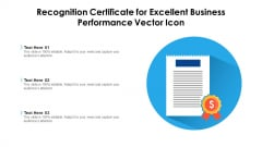 Recognition Certificate For Excellent Business Performance Vector Icon Rules PDF