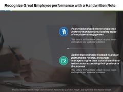 Recognize Great Employee Performance With A Handwritten Note Ppt PowerPoint Presentation Gallery Backgrounds