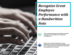 recognize great employee performance with a handwritten note ppt powerpoint presentation styles design inspiration