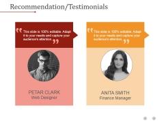 Recommendation Testimonials Ppt PowerPoint Presentation Graphics