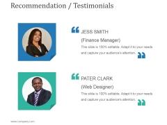 Recommendation Testimonials Ppt PowerPoint Presentation Shapes