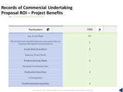 Records Of Commercial Undertaking Proposal ROI Project Benefits Ppt Outline Good PDF