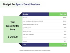 Recreational Program Proposal Budget For Sports Event Services Ppt Icon PDF
