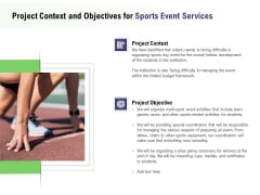 Recreational Program Proposal Project Context And Objectives For Sports Event Services Ppt File Formats PDF