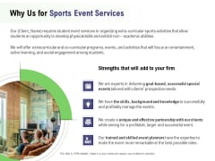 Recreational Program Proposal Why Us For Sports Event Services Ppt Model Information PDF