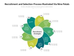 Recruitment And Selection Process Illustrated Via Nine Petals Ppt PowerPoint Presentation Ideas Skills PDF