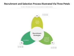 Recruitment And Selection Process Illustrated Via Three Petals Ppt PowerPoint Presentation Pictures Backgrounds PDF