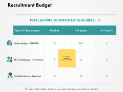 Recruitment Budget Ppt PowerPoint Presentation Pictures Design Inspiration