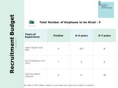 Recruitment Budget Ppt Powerpoint Presentation Portfolio Icons