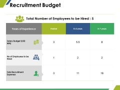 Recruitment Budget Ppt PowerPoint Presentation Show Graphic Tips